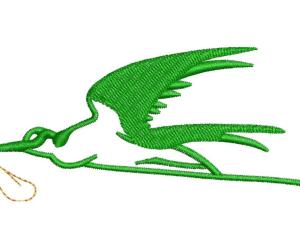Green Bird Embroidery Designs