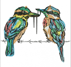 Couple of shrikes Embroidery Designs