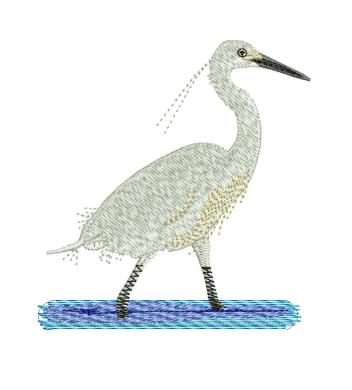 Egretta Garzetta Embroidery Designs
