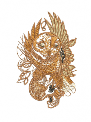 Owl holding skull Embroidery Designs