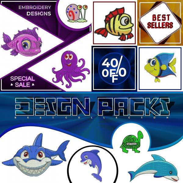 Sea animals embroidery design
