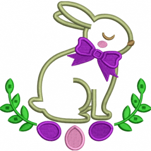 Easter Applique Rabbit Embroidery Design