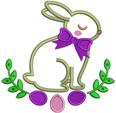 Easter Applique Rabbit Embroidery Design
