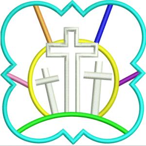 Easter Crosses Applique Frame Embroidery Design