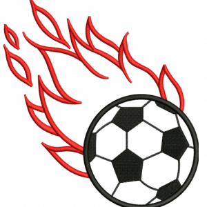 Flaming Soccer Ball Applique Embroidery Design