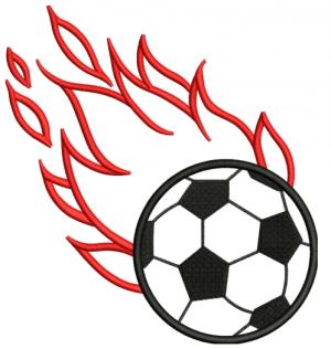 Flaming Soccer Ball Applique Embroidery Design
