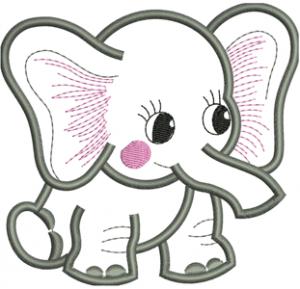 Elephant Applique Embroidery Design